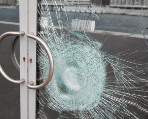 broken laminated safety glass