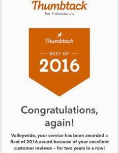 Recent Thumbtack Award for Great Service